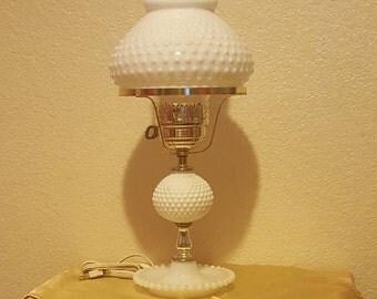 Hobnail White Milk Glass Lamp 1950's