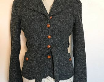 Vintage 90s Black Tweed Jacket Italian Tie Waist Wool Blazer Sz M