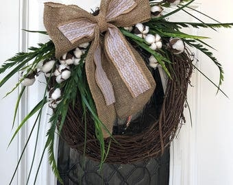 Spring wreath, summer wreath, burlap bow, cotton wreath, year round wreath, door wreath, grapevine wreath