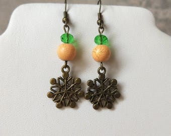 Green beige bronze snowflake earrings holiday festive bright Christmas earrings dangle ethnic winter woman jewelry Xmas gift wife New Year