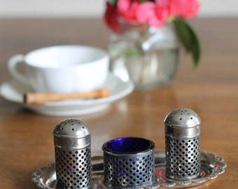 Silver and Blue Glass Salt and Pepper Tray