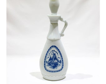 Vintage 1965 Jim Beam Collectible Milk Glass Decanter Bottle with Stopper