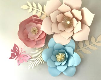 Large Paper Flowers Backdrop, Nursery Decor,  Baby Showers, Birthday Party Decoration, Weddings