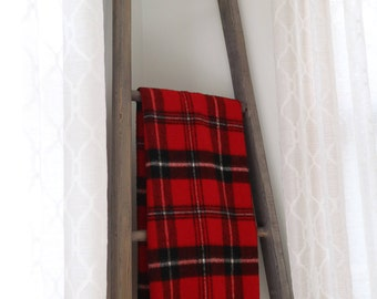 SALE: Vintage Faribo Red & Black Buffalo Plaid Throw - Very Good Condition
