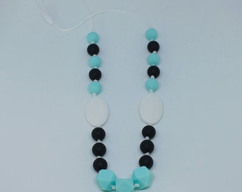 Nursing necklace : Turquoise, black and white silicone beads