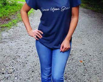 Christian T Shirt, Mindfulness Gift, Grace Upon Grace, Bible Verse, Graphic Tee, Tumblr T Shirt, Choose Kind