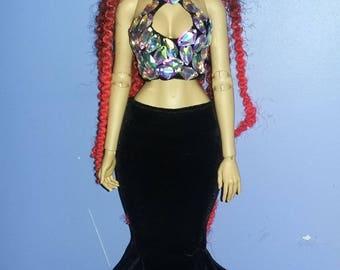 two piece outfit for  raccoondoll,iplehouse fid,dollshe fashion size,msd size bjd