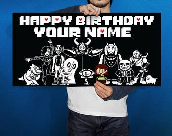 Undertale  Birthday Banner, Video Game Poster, Personalized, Custom, Birthday Banner