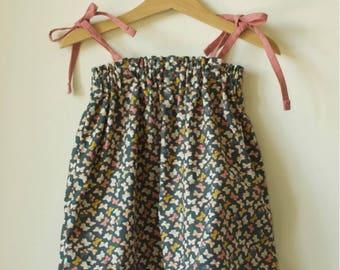 Baby dress cotton bloomer in old pink linen butterflies pattern