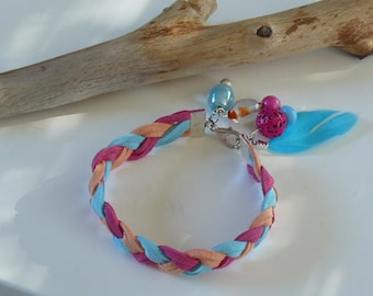Colorful braided bracelet with glass beads and feather suede