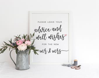 Advice and Well Wishes For The New Mr. and Mrs. Sign / Printable / Instant Download / Wedding / Brushstroke BR
