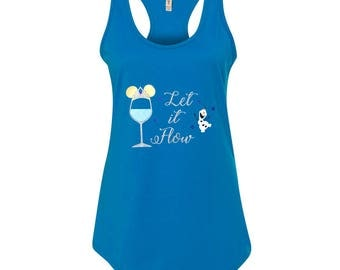 Epcot Drink Around the World Shirt, Disney Frozen Drinking Shirt for Women, Olaf Ladies Tank Top