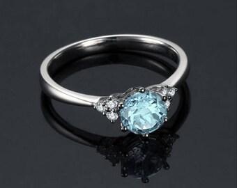 Round Aquamarine Engagement Ring 14k White Gold Modern Aquamarine Ring March Birthstone Proposal Ring Anniversary Ring