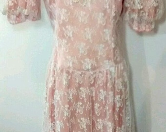 NOS Gunne Sax Jessica McClintock Vintage Lace Puffy Sleeve Dress, Junior 11, New Old Stock, With Tags, 1980s