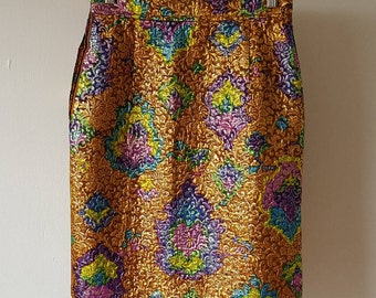 Vintage Ungaro Parallele Skirt 80's Gold Brocade Pencil Skirt Paris Fashion Emanuel Ungaro Designer Psychedelic Summer Party