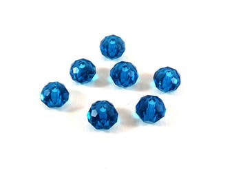 Set of 30 glass beads 6 mm Turquoise (Ref.81)