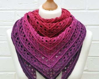 Crochet Lace Shawl - Gradient Red Hot Pink to Purple, Bright Pink Purple Shawlette, Knitted Shoulder Scarf, Crochet Lace Knitted Accessories
