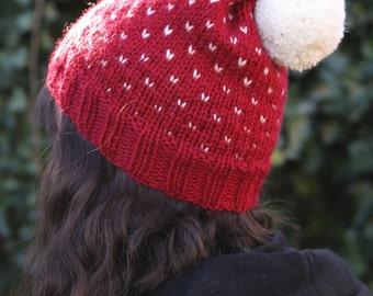 Chunky tricot Hat, Pom pom Fair Isle Beanie, Slouchy bonnet fait main, chapeau d'hiver rouge