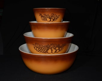 Full set (4) of PYREX Old Orchard Mixing Bowls, Vintage Pyrex Mixing Bowl Set, 1970s, Orchard, Brown Fruit, Butterscotch, complete set