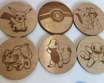 Pokemon Coasters - Laser Cut Linden Wood