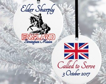 England Missionary Ornament*LDS Missionary Ornaments*Mormon Treasures*Christmas Ornament*Missionary Gift*Called to Serve*LDS Gift*UK Gift