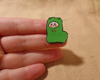 Llama Gifts, llama jewelry, cute llama pin, llama brooch, green cute llama, kawaii llama, adorable llama, tiny llama pin, Green Llama