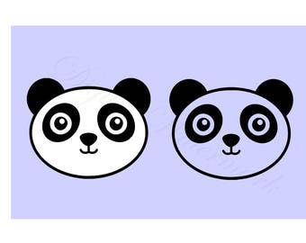 Baby Panda Face SVG & Studio 3 Cut File Panda Decals Designs Bear Design for Cricut Brother Silhouette Files SVGs Out Bears Asian Cutouts