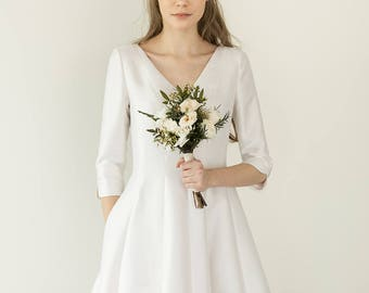 Silk tea length wedding dress, flare dress, simple short bridal dress  / Lucia