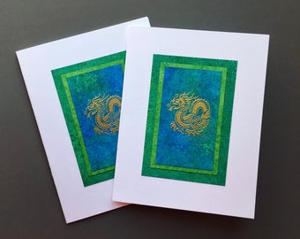 Chinese dragon hand-painted blank cards (set of 2), individually handmade: A2, note cards, fine cards, dragons, SKU BLA21069