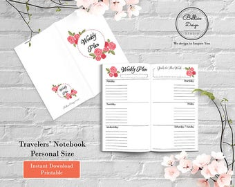 Week on 2 Pages, Foxy Fix, Weekly Planner Printable, Personal Size, Personal Planner Inserts, Undated Weekly Planner, Weekly Planner Inserts
