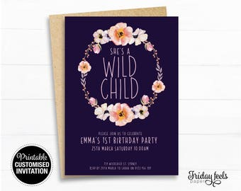 She's a WILD CHILD birthday invitation, Navy Pink Watercolor floral wreath printable kids, personalised Digital Download