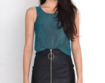 VINTAGE Blue Shiny Sleeveless Retro Top Tank