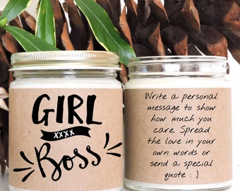 Girl Boss!Scented Soy Candle - 9 oz jar,Personalized,Soy Candle,Just For Fun,Custom Gift,Friend,Thank You,Anniversary,Love,Friendship,Family