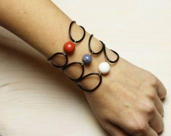 Handmade Bracelet. Natural Corals. Semi Precious Gemstones. Jewelry Modern Gift
