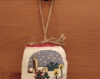 Christmas ball decoration. Cross stitch handmade