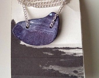 Lighthouse At Night shell pendant necklace