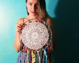 Large Crochet Dream Catcher / Wall hanging / wedding decor/ photo backdrop / boho