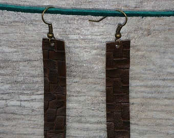 Rustic Brown Weave Leather Strap Earrings Joanna Gaines Inspired Vegan Light weight