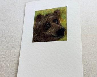 Needle felted greetings card - brown bear