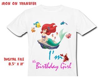 Little Mermaid Iron On Transfer Diy - Birthday GIRL - Girl Birthday Shirt Design - Girl DIY Shirt - Digital Files - Instant Download