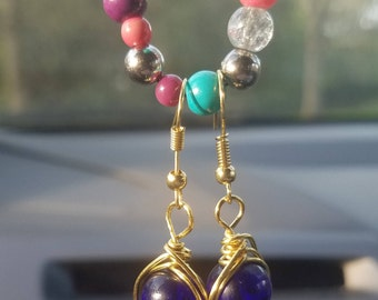 Wire wrapped crystal bead drop earrings. Made to order.