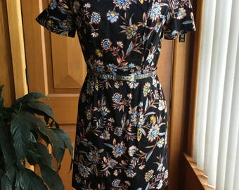 Lovely cotton black dress with floral design - size S