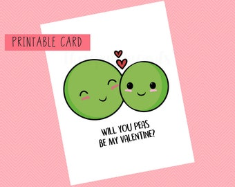 Will You Peas Be My Valentine? | Valentines Card, Anniversary Card, Funny Card, Puns Card, Puns, Love Card, Pun, Joke, Funny, Cute, Sweet