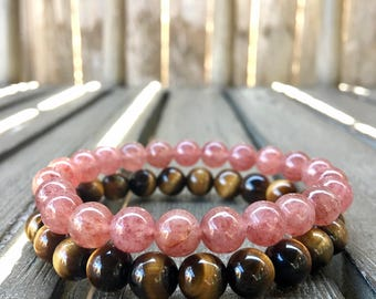 8mm Strawberry Quartz & Tiger's Eye Stretch Bracelets