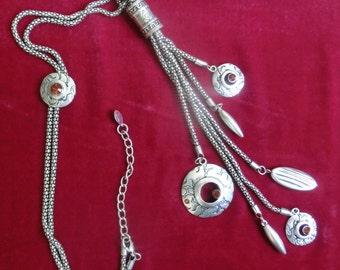 Long chain with pendants, necklace, pendant, bijouterie, оригинальная цепочка с подвеской