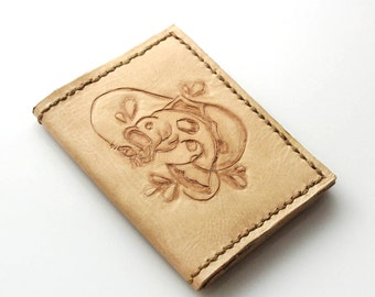 Carved Fisherman's Leather Bifold Wallet
