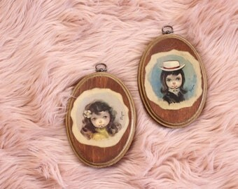 vintage Ozz Franca big eyed girl wall art set, small oval pictures decoupaged wood plaque . 1960s home decor