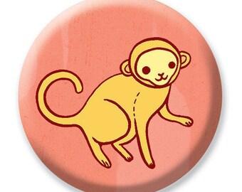 ZOO PARTY favors - MONKEY pocket mirror - girl party favors, monkey baby shower favors, monkey birthday party favor, pink monkey party favor
