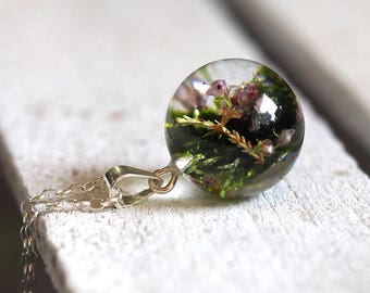 Woodland Necklace, Sterling Silver, Heather and Moss Necklace, Forest Jewelry, Terrarium Jewelry, Terrarium Necklace, Bold Jewelry
