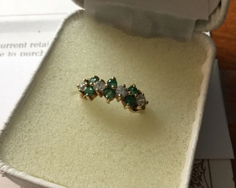 10kt Yellow Gold Emerald & CZ Ring   Sz 4